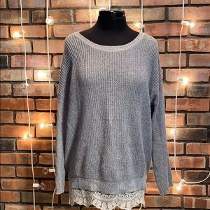 Pins and Needles Crew Neck Sweater Lacy Bottom